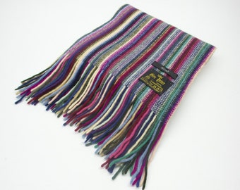 06eb13dbbc4a Glen Prince Muffler VINTAGE Glen Prince Of Great Britain Colorful Stripes  Woven Design Scarf Made In Scotland 8x63 3 4