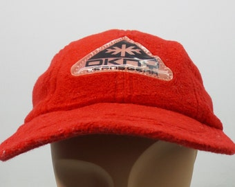 Donna Karan New York Headwear VINTAGE Dkny Jeans Gear RED cap Womens Made In  USA 33dd6aecc7b3