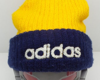 0ef52408c24 Adidas Headwear VINTAGE Adidas Yellow Plain Beanie Made In Taiwan 51-54 cm