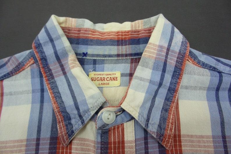 Sugar Cane Shirt VINTAGE Sugar Cane Short Sleeve Double Pocket Checkered Shirt Made In Japan Mens Size L