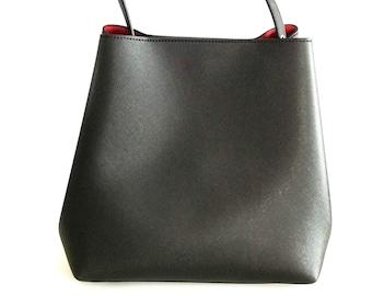 Black Vegan Leather Tote Bag