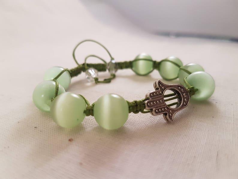 Hamsa Hand Shamballa Bracelet  Indie Jewelry