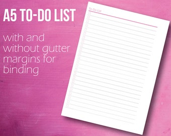 To Do List, A5 Planner Inserts, Planner Printable, A5 Planner, Instant Download, A5 Refill, PDF
