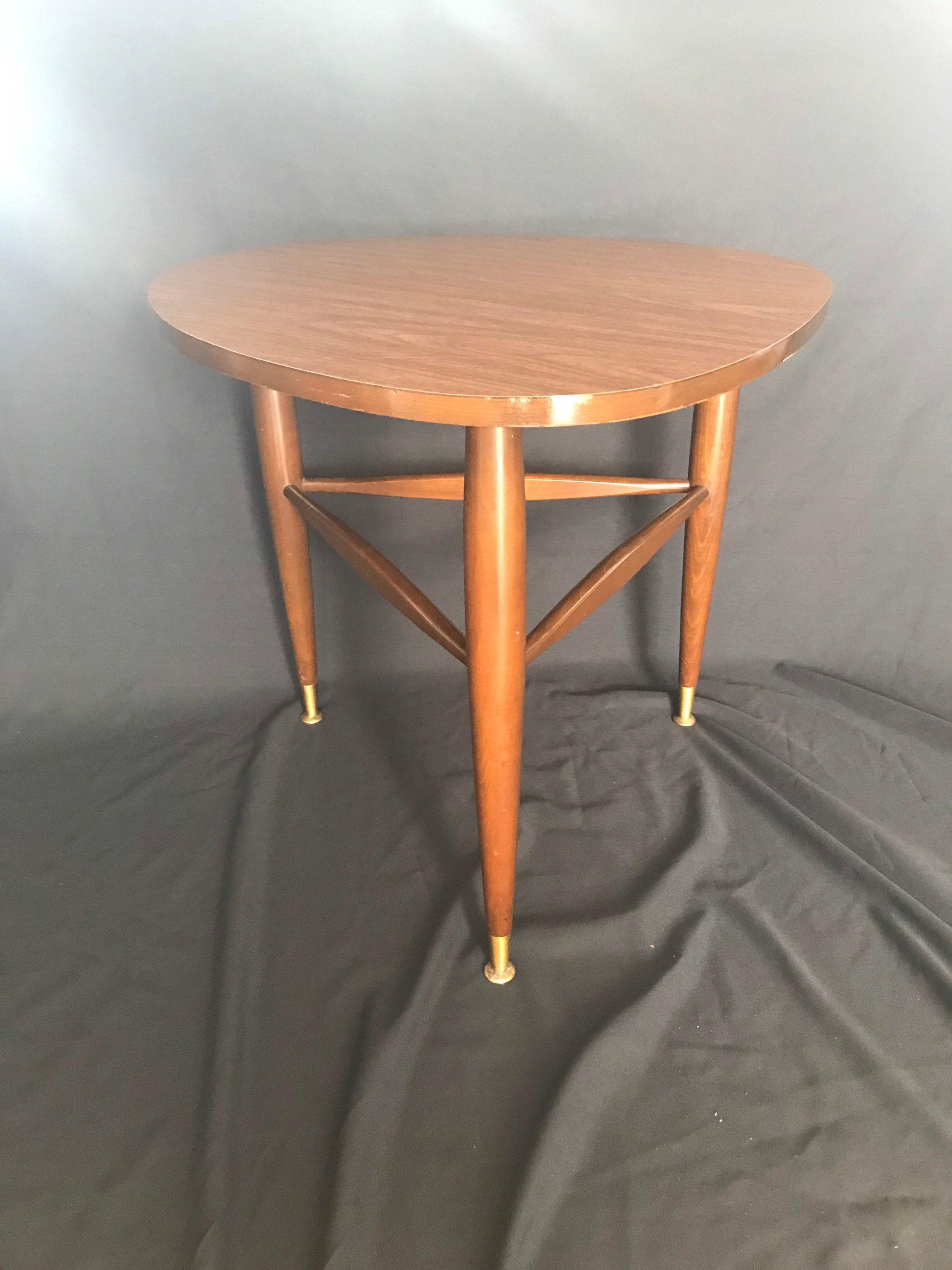 Image of: Mersman Guitar Pick Table Mid Century Modern Tripod End Table Vintage Mersman 1960s