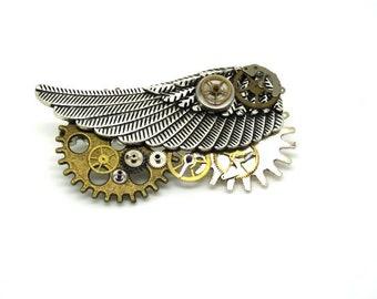 Winged steampunk, steampunk, steampunk, jewelry brooch