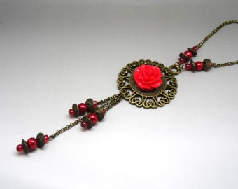 Victorian necklace bronze necklace and red