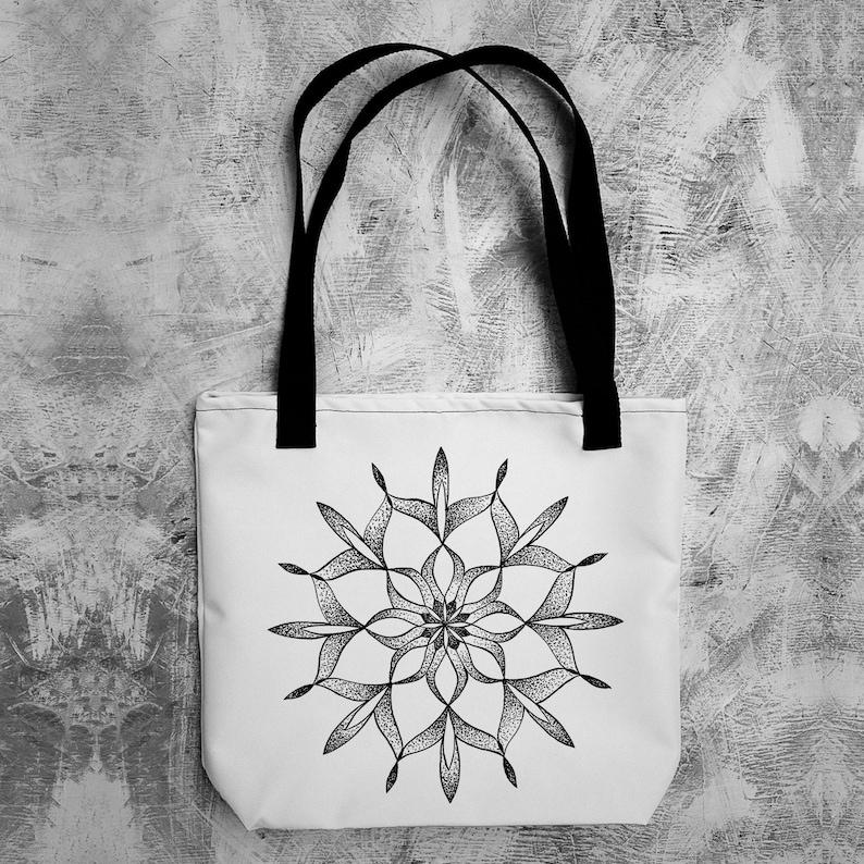 Mandala tote bag Reusable grocery bag Yoga tote bag Meditation tote bag Spiritual tote bag Mandala shoulder bag Yoga positive quote Tote bag