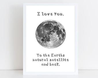 I Love You to the Moon and Back Valentines Day Scientific Gift / Poster