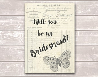 Will You Be My Bridesmaid Vintage Butterfly Wedding Party Request Invitation One-Sided Card in A4 or A5 (2 Pack)