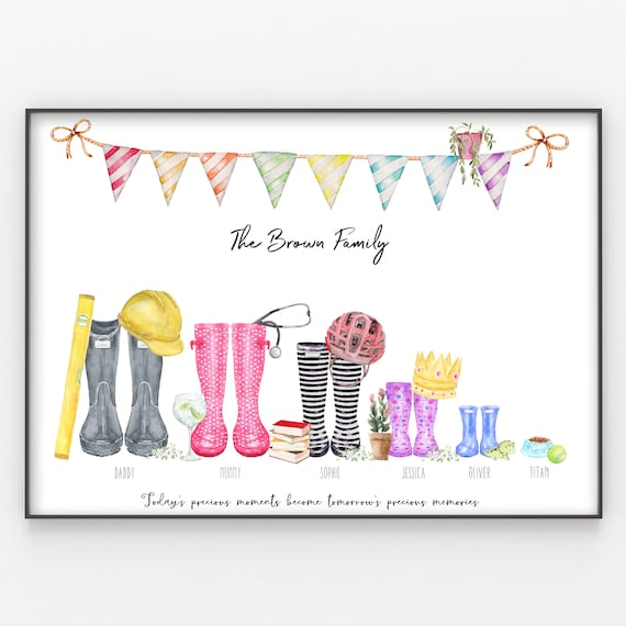 Personalised Our Family Print Xmas Fab Gift for Birthdays Welly