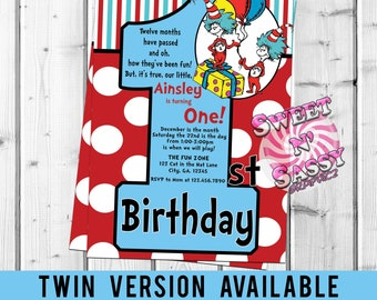 First Birthday 1 Invite 1st Dr Things Invitation Twin Party Twins Thing 2 ONE