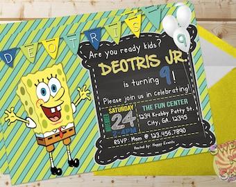 Spongebob Invitation Birthday Party Squarepants Invite Personalized Digital File
