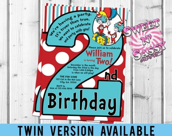 Cat In The Hat 2nd Birthday Dr Seuss Thing 1 2 Invitation Party Twin Twins TWO