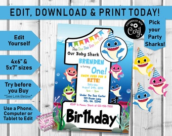 Baby Shark EDITABLE First Birthday Invite 1st Number 1 Invitation Pink Fong One Corjl