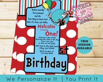 Cat In The Hat First Birthday Dr Seuss Thing 1 2 Invitation Party Twin Twins ONE