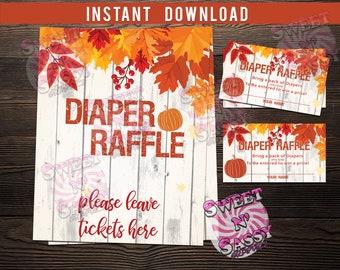 Pumpkin Diaper Raffle Ticket Vintage Rustic Fall Wood Autumn Digital