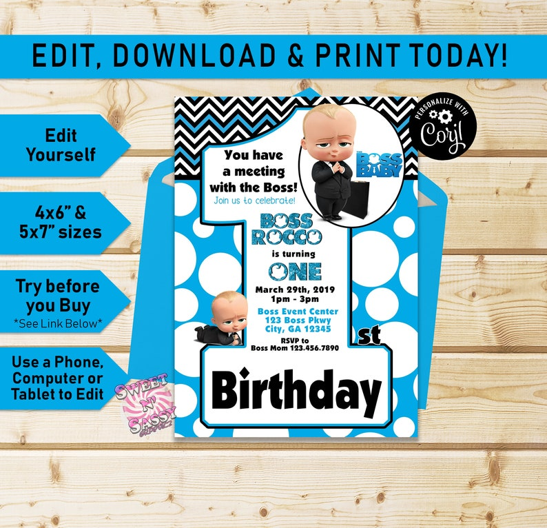 The Boss Baby Birthday Invitation Number 1