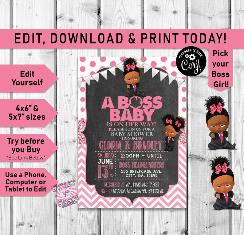Boss Baby Girl Baby Shower Invitation Baby Shower Invitation Boss Baby Boss Baby Party African American Afro Puffs Invite Pink Corjl