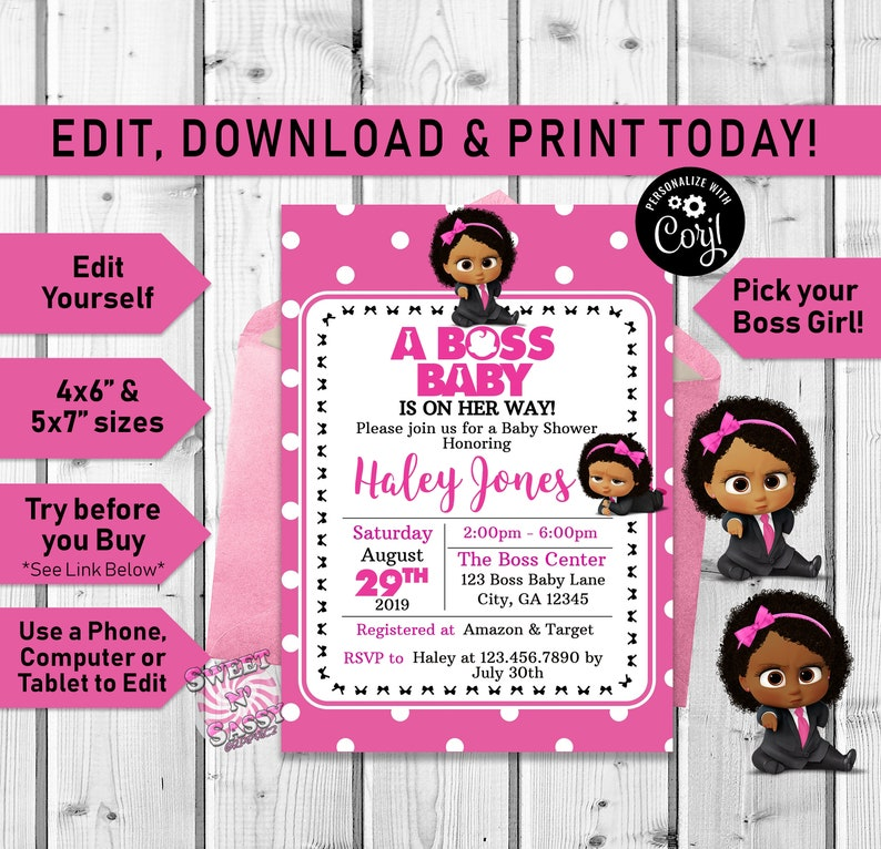 Girl Afro Boss Baby Shower Invitation Baby Shower Invitation Boss Baby Pink Girl Boss Baby Printable Black African American Invite