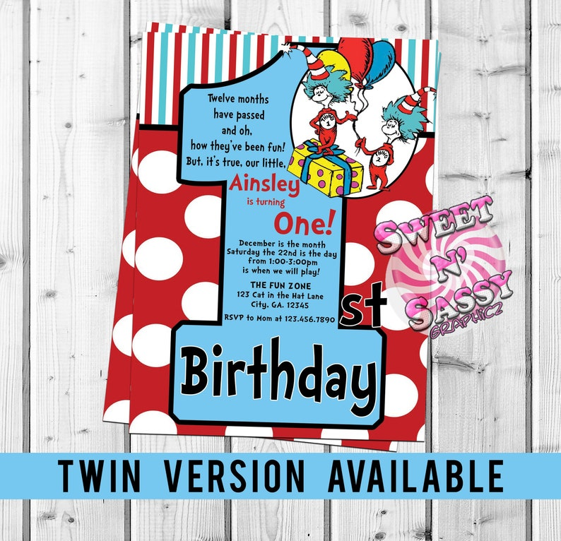 Cat In The Hat First Birthday Dr Seuss Thing 1