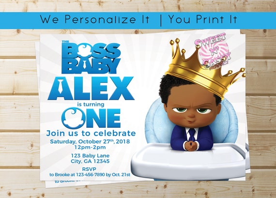 The Boss Baby African American Birthday Invitation Boss Baby Etsy