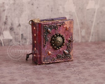Tiny book pendant Mini book Miniature journal Tiny necklace Book keychain Teeny tiny books Itty bitty Book lover gift Square Miniature Book