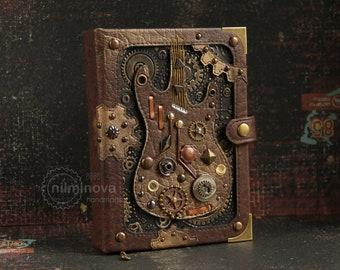 """Mechanical notebook A6 """"Steampunk guitar"""" blank journal music gifts for musicians Guitar journal Guitar gifts for men Guitar player gift"""
