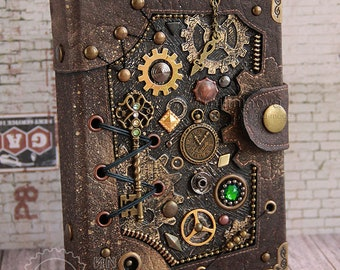 """Steampunk Diary refillable Steampunk Accessories blank notebook A6 journal Steampunk book """"Threads of time"""" Geek gift Geeky girl Key journal"""