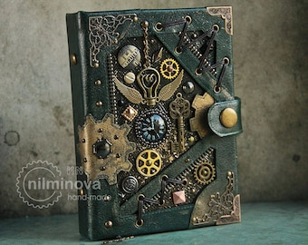 """Steampunk notebook A6 Green blank journal diary """"By the wings of time"""" Blank notebook Black page journal for women Blank book Vegan notebook"""