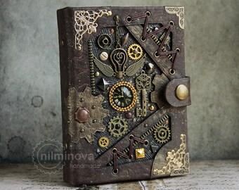 "Steampunk notebook A6 Brown blank journal ""By the wings of time"" Groomsmen journal boyfriend Hardcover journal Blank notebook Vegan notebook"