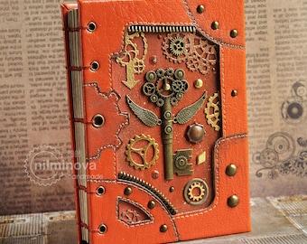 Steampunk key notebook, Steampunk blank notebook Writers journal hand bound guest book Coptic journal Kraft notebook insert Women notebook