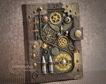 """Steampunk journal for him Men notebook A6 """"Ammunition"""" blank notebook brown diary Steampunk Accessories Brother gift Steampunk Military gift"""