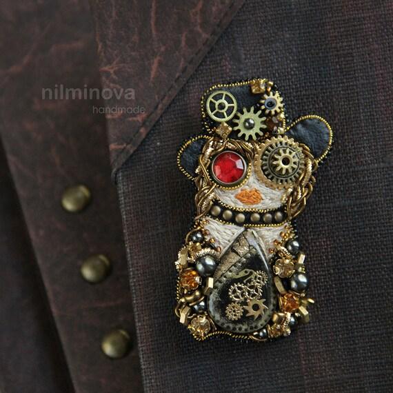 Nidificazione bambole russe Matryoshka in Miniatura Piccolo Marrone Bianco Owl Bird 5 HAND MADE