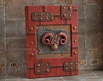 Aries journal zodiac gift Steampunk blank journal Ram head Astrology Aries horns Men notebook birthday journal sign Aries horoscope gift him