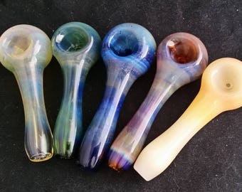 Fumed on Color Spoon Style Glass Tobacco Pipe