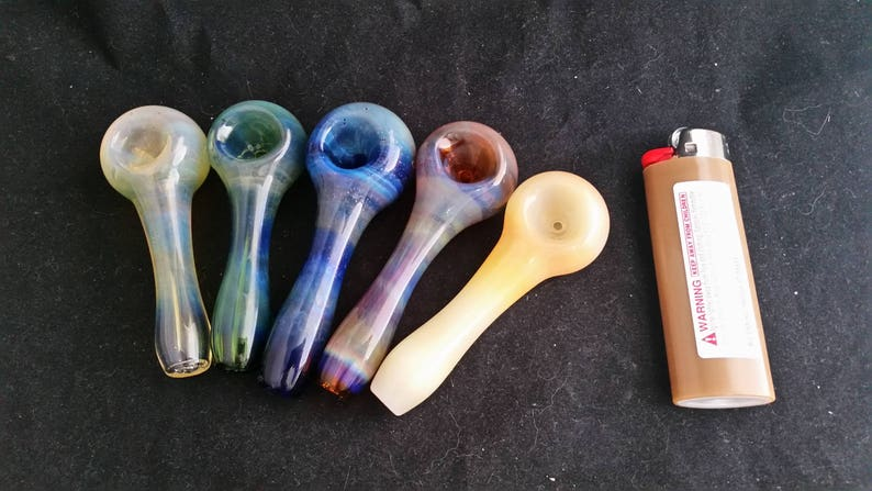Fumed on Color Spoon Style Glass Tobacco Pipe image 0