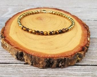 Dainty Wealth & Business Success Bracelet - Tigers Eye, Pyrite