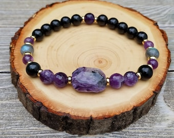 Protection Bracelet - Empath  Protection, Negative Energy Protection, Psychic Protection, Charoite