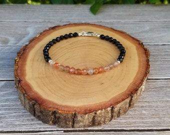 Dainty Protection Bracelet - Aura Protection, Negative Energy Protection, Psychic Protection, Sunstone, Black Tourmaline