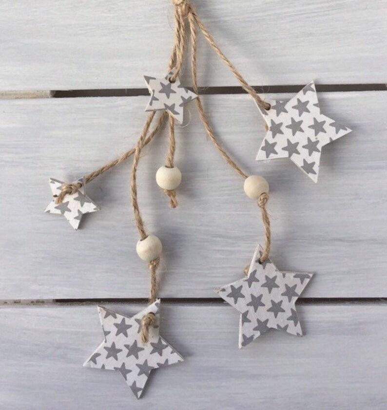 Small Greywhite Hanging Stars