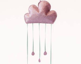 Baby mobile / Rainy Cloud  Mobile - pink & mint / Romantic nursery decor / Crib mobile / Modern nursery / Girls room / Pastel Wall decor