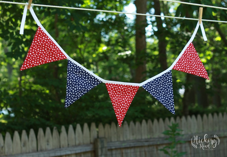 blue party decor Fourth of July July 4th pennant banner white red independence day stars flags BUNTING