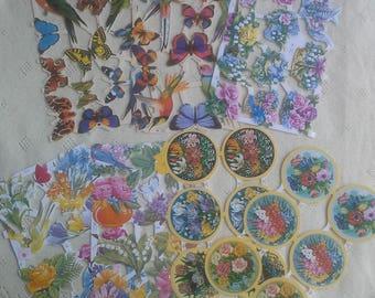 Flora and fauna vintage scraps