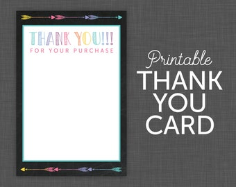 Thank You Note Card - chalkboard - blank thank you, printable thank you, digital thank you
