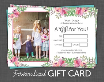 Floral Gift Certificate - Gift Card - Custom, Personalized