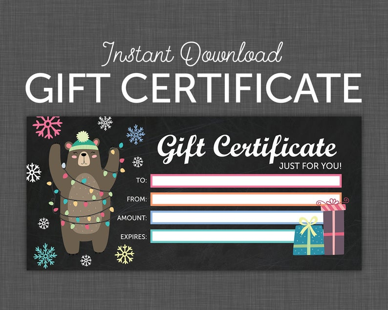 Printable Gift Card Gift Certificate Holiday Christmas Gift Certificate Instant Download
