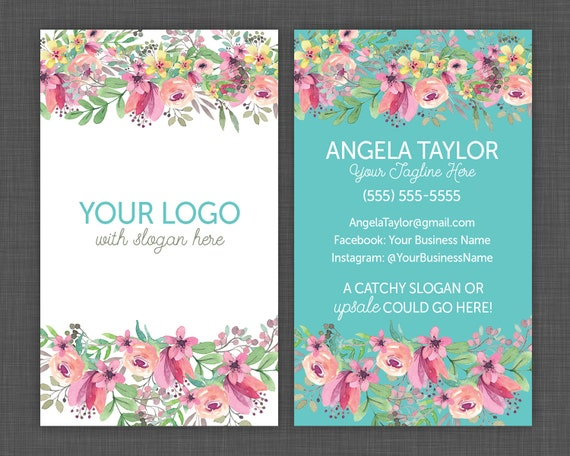 Floral Business Cards Flower Business Card Pretty And Shabby Etsy