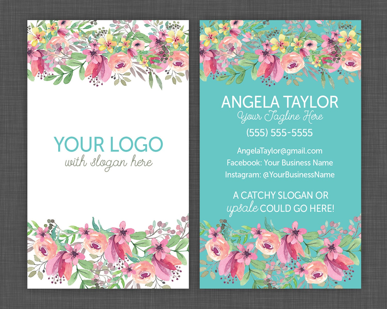 Floral Business cards Flower Business Card Pretty and Shabby | Etsy