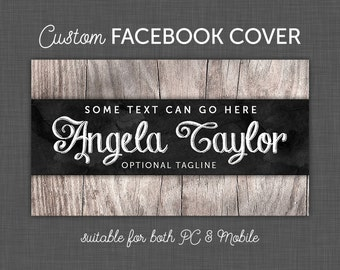 Facebook Business, Facebook Cover - Facebook Group Cover, Timeline Cover - Wood with Chalkboard