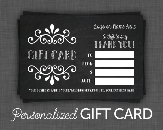 gift certificate printable chalkboard gift certificate etsy